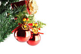 Red ball hanging on branch of Christmas tree. — Stock Photo