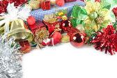 Clochettes d'or et accessoires décorations de noël. — Photo