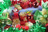 Green Ribbon and Accessory decorations in Christmas day. — Stock Photo