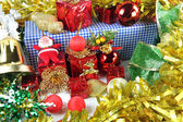 Golden ribbon Accessory decorations of Christmas day. — ストック写真