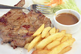 Pork steak with French Fries. — Stok fotoğraf