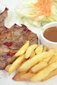 Pork steak with French Fries. — Stock Photo