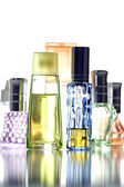 Many Bottle with Perfume different color isolated. — Stock Photo