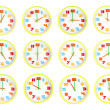 Colorful clock of twelve style in telling time. — Stock Photo #41970905