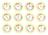 Colorful clock of twelve style in telling time. — Stock Photo
