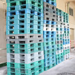 Plastic pallets are stacked can cause accidents. — Stock Photo #41994013