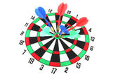 Darts on Target of isolated. — Stock Photo