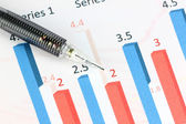 Mechanical pencil point to Numbers text on color bar graph. — Stock Photo