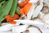 Mushrooms, carrots and peas as ingredient in cooking. — Foto de Stock