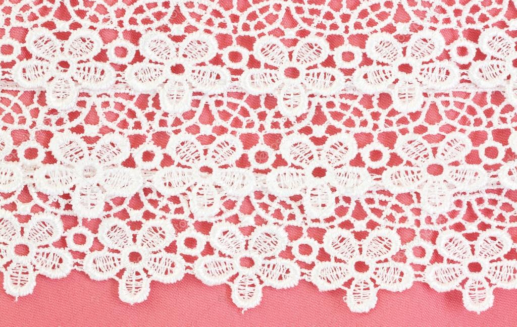 Fabric Flowers Pattern White Flower Pattern on Pink Fabric For The Background