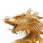 Head Golden dragon statue. — Stock Photo