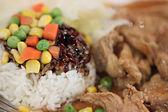 Rôti de porc à la sauce sur le riz. — Photo