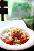Tuna and vegetable salad in dish. — Stock Photo
