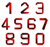Red dark collection numbers of isolated on white. — Stock Photo