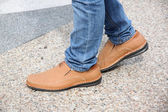 Brown leather shoes. — Stock Photo