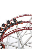 Rollercoaster on white background. — Stock Photo