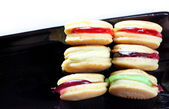 Thailand macaroon in black dish. — Stock Photo