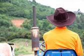 Farmer driving tractor. — Stock Photo
