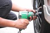 Mechanic repaired wheeled vehicles. — Stock Photo