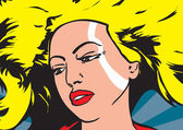 Pop art vector illustration of a woman — Stock Photo