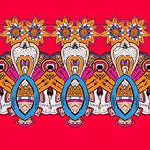 Horizontal lace steampunk ornament, ornamental geometric pattern — Stock Vector