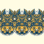 Ethnic horizontal seamless pattern. Indian ornament — Stock Vector