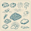 Vector collection of hand drawn cloud icons — Stock Vector