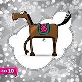 Vector cartoon horse. Symbol of 2014. Winter. Backdrop. — Stock Vector