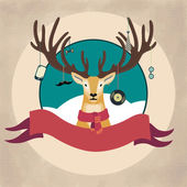 Hand Drawn Vector Illustration of Deer Hipster in scarf, Merry Christmas Card — Stock Vector