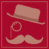 Hipster trend: vintage hat, monocle and moustache — Stock Vector