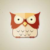 Cute little brown and light yellow cartoon owl — Stock Vector