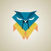 Cute little blue and yellow cartoon samurai owl — Stock Vector