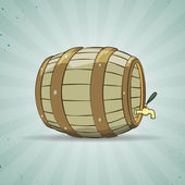 Old wooden barrel filled with natural wine or beer. Keg. — Stock Vector