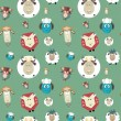 Seamless pattern of cartoon funny sheeps — Stock Vector