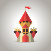 Cute origami castle from folded paper. Icon. — Stock Vector
