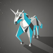 Three dimensional magic origami unicorn from folded paper — Stock Vector