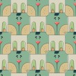 Seamless pattern the face of a cute rabbit — Stock Vector