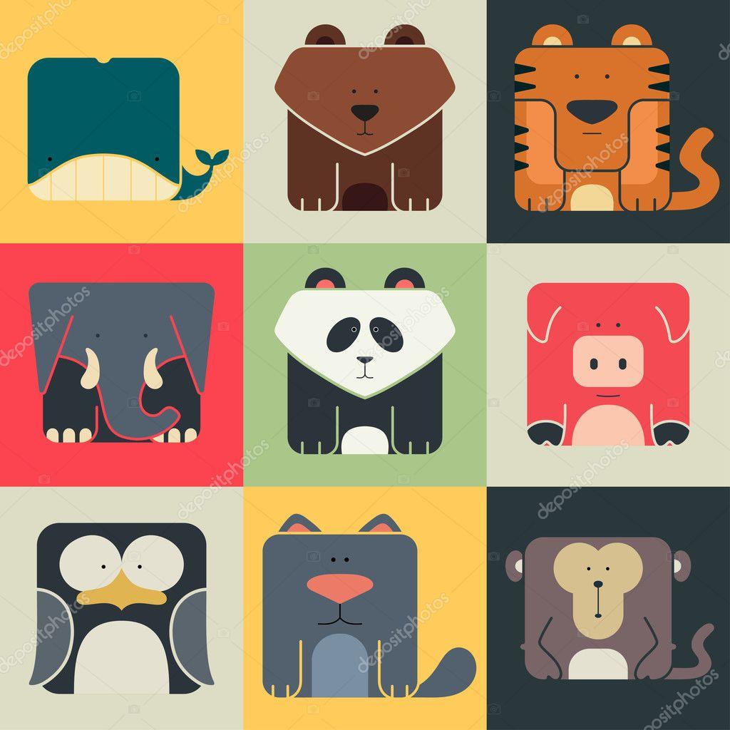 设置平面正方形图标,可爱的动物