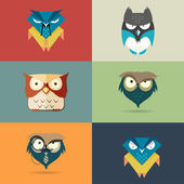 Set cute stylized cartoon icons of owls — Stock Vector