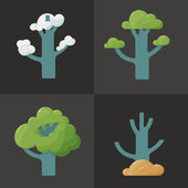 Flat icon illustration of a tree in different seasons — Stock Vector