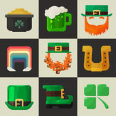 Set of shiny flat Irish St. Patricks Day icons — Stock Vector