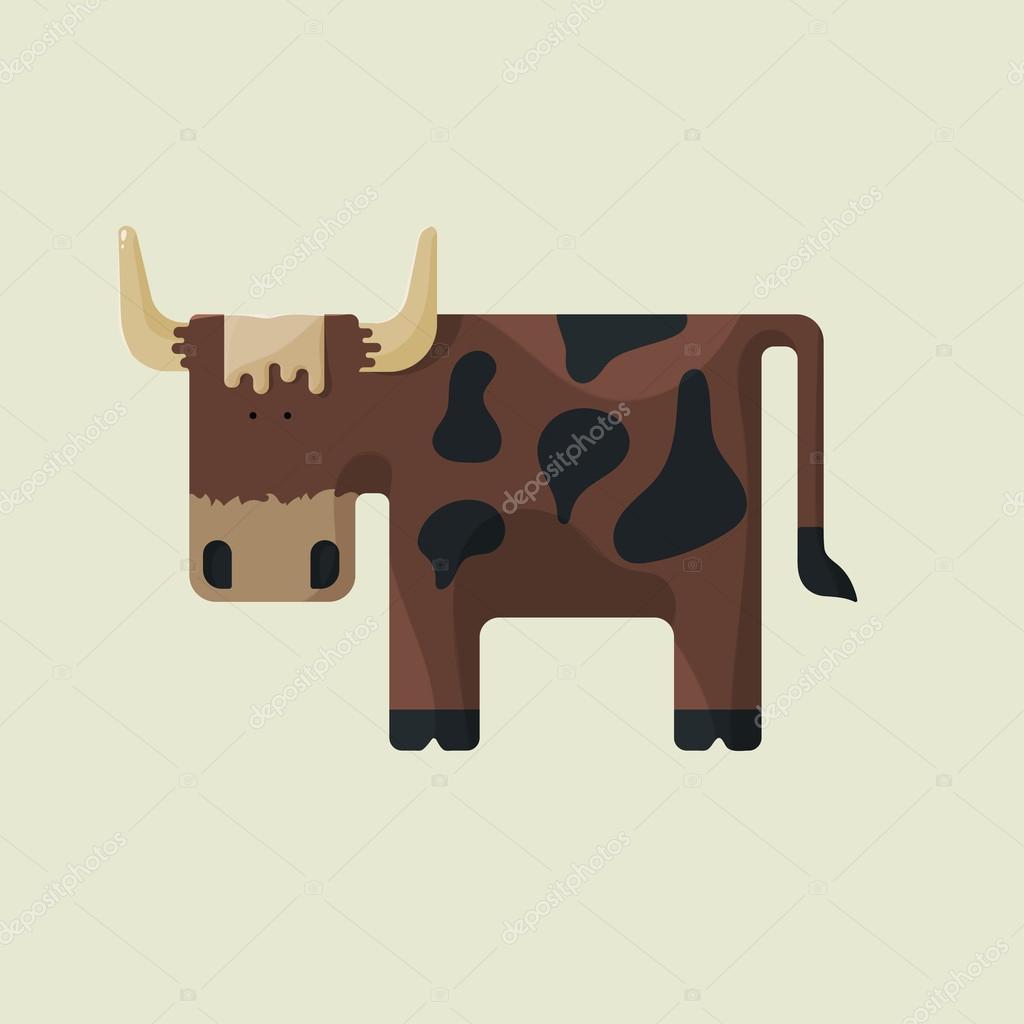 Toro simpatico cartone animato marrone con corna e macchie
