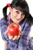 Apple In Girl's Hand — Stockfoto