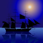 Sailing Ship In The Night Sea — Stock Vector