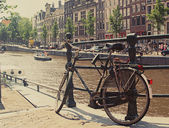 Biking in Amsterdam — Stock Photo