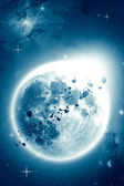 Blue luminescence in space — Stock Photo