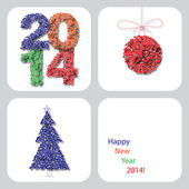 Vector Happy New Year 2014 decoration card 2 — Wektor stockowy