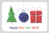 Vector Happy New Year 2014 decoration card 7 — Stok Vektör