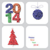 Vector Happy New Year 2014 decoration card 5 — Stock vektor
