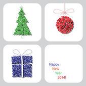 Vektor-frohes neues Jahr 2014 Dekoration Karte 9 — Stockvektor
